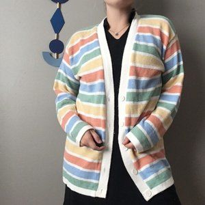 Vintage Pastel Striped Cardigan Sweater 0741